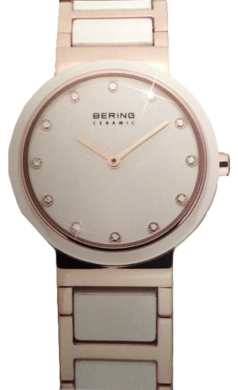 Bering Time - Ladies Rose Gold & White Ceramic Link Watch with Swarovski Crystals 10729-766 (Women's)