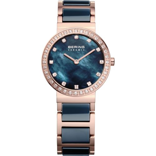 Bering Time - Ladies Rose Gold & Blue Ceramic Watch with Swarovski Crystals 10729-767 (Womens)