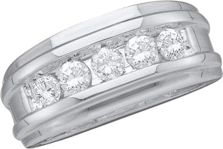 0.25ctw Diamond Fashion Mens Band Ring 14K White Gold