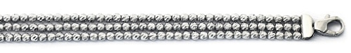 "Officina Bernardi - Slash Collection - 7"" Three Row Bracelet - Italian 925 Sterling Silver"