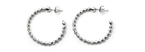 Officina Bernardi - Slash Collection - 25mm Earrings (5 Color Choice) - Italian 925 Sterling Silver
