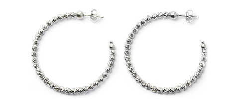 Officina Bernardi - Slash Collection - 35mm Earrings (5 Color Choice) - Italian 925 Sterling Silver