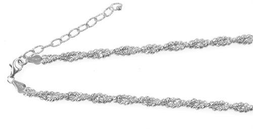 "Officina Bernardi - Slash Collection - 16"" + 2"" Necklace (4 Color Choice) - Italian 925 Sterling Silver"