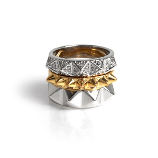 nOir Jewelry - Stack Pyramids - 18K Gold and Rhodium Plated Stackable set of Three Rings