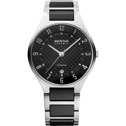 Bering Time - Mens Silver & Black Titanium Ceramic Link Watch with Carbon Dial 11739-702