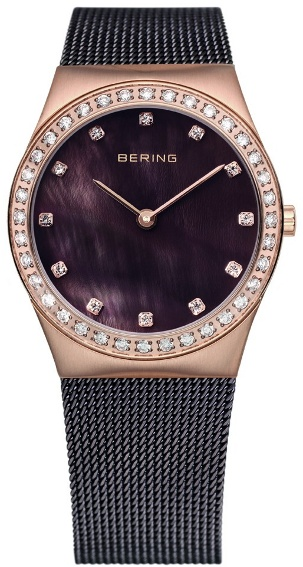 Bering Time - Classic - Ladies Black Mesh Swarovski Crystal Watch 12430-262 (Women's)
