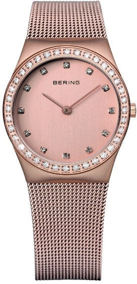 Bering Time - Classic - Ladies Rose Gold Mesh Swarovski Crystal Watch 12430-366 (Women's)
