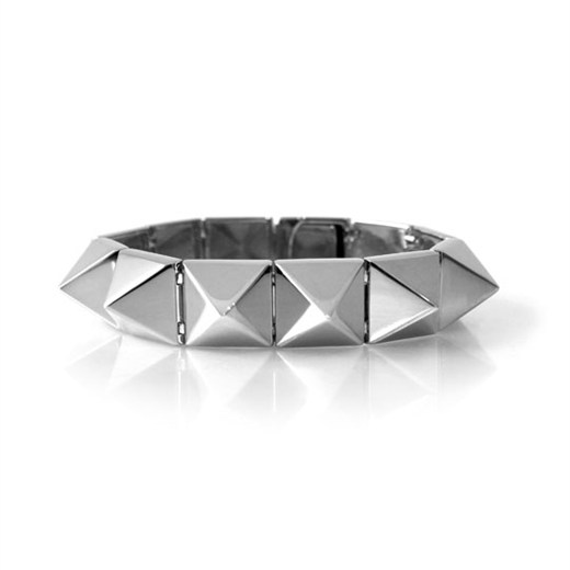 nOir Jewelry - Smooth Pyramid - Solid Brass Rhodium Plated Bracelet - DISCONTINUED