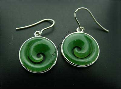 Jade Koru (Spiral) Earrings (1389-1K)
