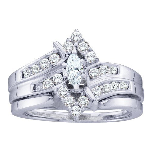 0.50ctw Diamond Marquise Center Bridal Set 14K White Gold