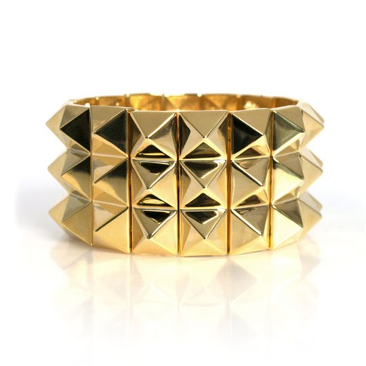 nOir Jewelry -  Stretch Pyramid  - Elastic Stretch Three Row Bracelet - DISCONTINUED