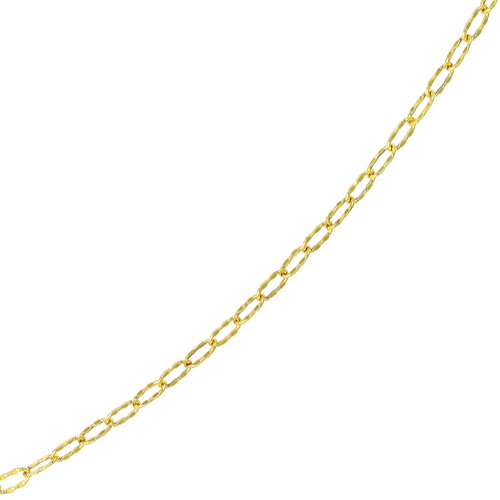 "10"" 14K Yellow Gold Flat Hammered Oval Chain Link Anklet w/ Pear Shape Clasp"
