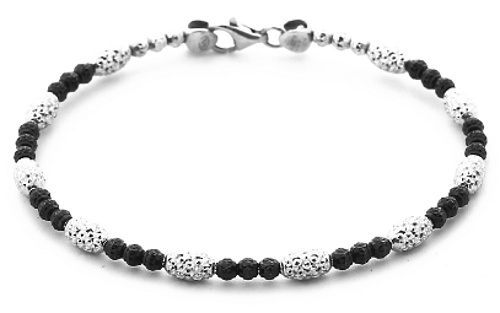 Officina Bernardi - Bombe Bangle Collection - Single Strand Black & White - Italian 925 Sterling Silver