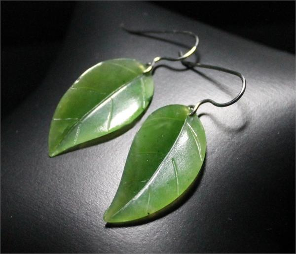 Jade Leaf Earrings (UJKK-1990-H)