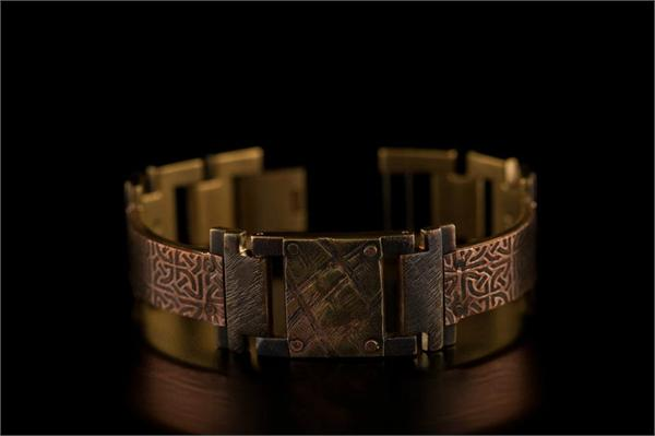Copper Celtic Design in Narrow Band WatchCraft (R) Handmade Bracelet (B24)