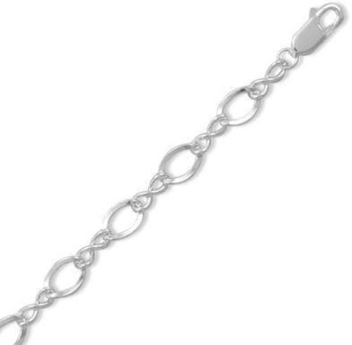 "8"" Polished ""Figure Eight"" Charm Bracelet 925 Sterling Silver"