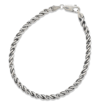 "9"" Men's Oxidized Rope Bracelet 925 Sterling Silver - DISCONTINUED"