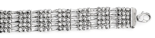 "Officina Bernardi - Tube Collection - 7"" White Five Row Bracelet - Italian 925 Sterling Silver"