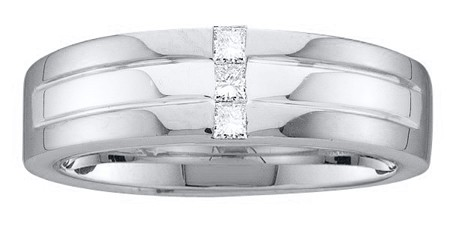 0.15ctw Diamond Invisible Mens Band 14K White Gold w/ Princess Cut Ring