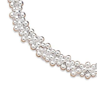 "16"" 4 Strand Necklace with 4mm (1/6"") & 5mm Beads 925 Sterling Silver"