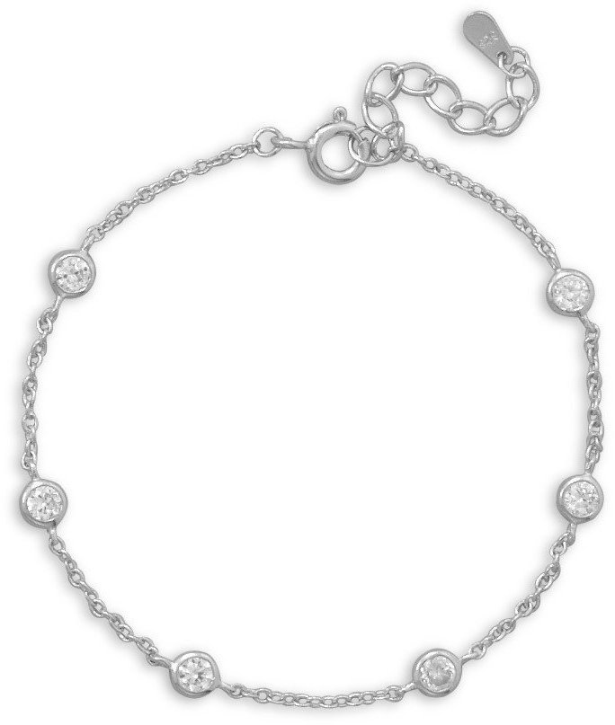 "7""+1""Extension Rhodium Plated 6 Bezel Set CZ Bracelet 925 Sterling Silver"