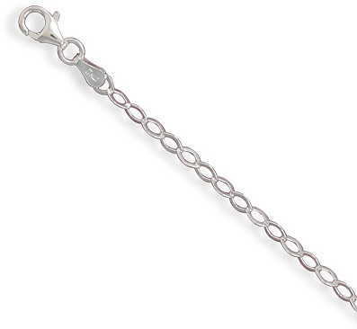"9"" Flat Diamond Shape Link Chain Anklet 925 Sterling Silver"