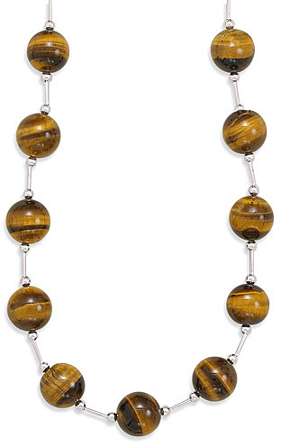 "16""+2"" Extension Tiger's Eye Bead Necklace 925 Sterling Silver"