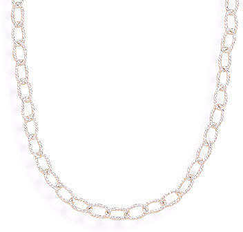 "16"" Oval Diamond Cut Link Necklace 925 Sterling Silver"