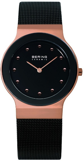 Bering Time - Ladies Black & Rose Gold Ceramic Mesh Watch 32834-262 (Womens) - DISCONTINUED