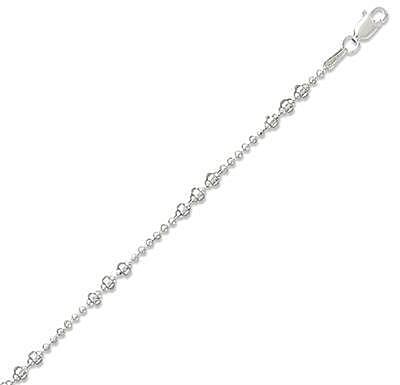 "16"" 1.5mm (0.06"") Bead Necklace with ""Wheel"" Beads 925 Sterling Silver"