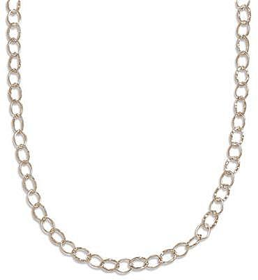"16"" Polished and Hammered Oval Link Necklace 925 Sterling Silver"