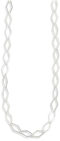 "16"" Diamond Shape Link Necklace 925 Sterling Silver"