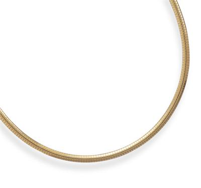 "18"" 22 Karat Gold Plated 4mm (1/6"") Domed Omega Necklace 925 Sterling Silver - DISCONTINUED"