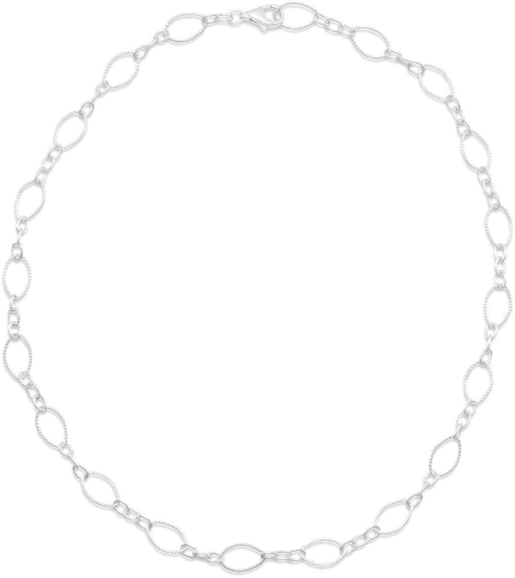 "16"" Twist and Polished Link Chain Necklace 925 Sterling Silver"