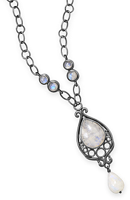 "16"" Oxidized Ornate Rainbow Moonstone Necklace .925 Sterling Silver - LIMITED STOCK"