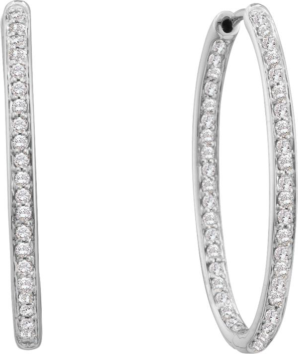 0.25ctw Diamond Fashion Inside Out Hoop Earrings 14K White Gold w/ 15 Diamonds