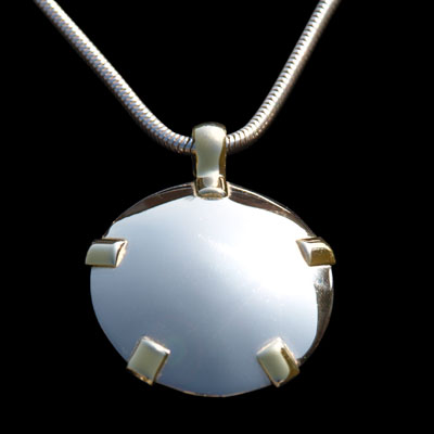 14k White Gold BioElectric Shield with Yellow Gold Tabs (84001)