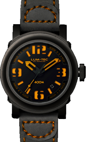 Lum-Tec Watch - ABYSS 400M - 400M-4 (42mm) Automatic Mens w/ Black Strap & Vintage Brown Stitch