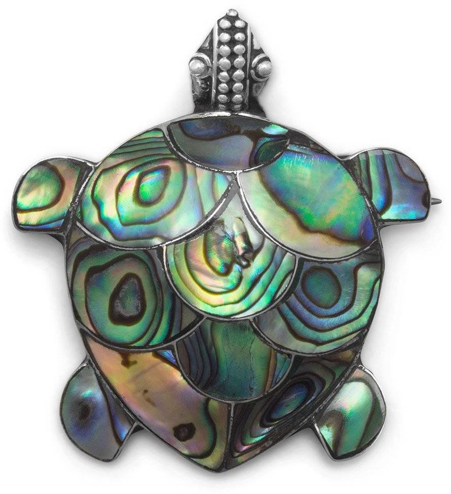 Paua Shell Turtle Pin/Pendant 925 Sterling Silver