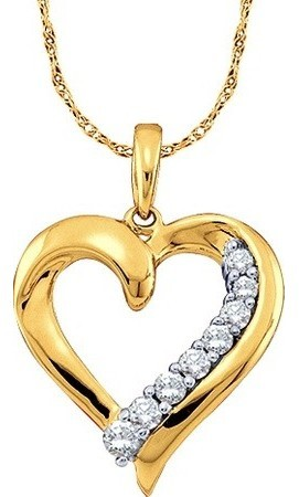 0.25ctw Diamond Heart Pendant 10K Yellow Gold 8 Diamonds