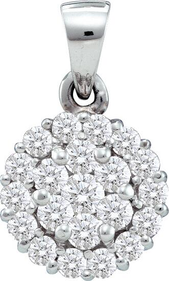 0.75ctw Round Diamond Flower Pendant(He) 14K White Gold