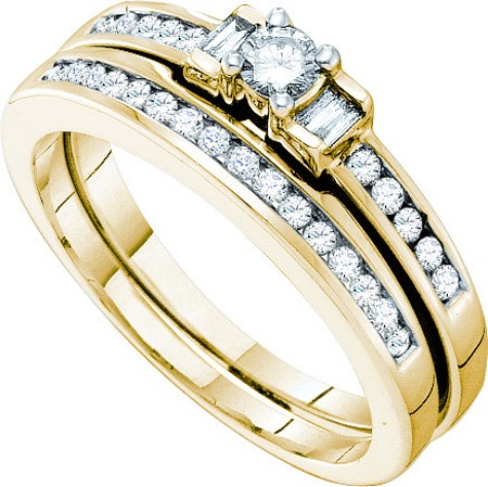0.43ctw Diamond Round Center Bridal Set 10K Yellow Gold