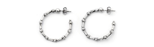 Officina Bernardi - Tube Collection - 25mm Earrings (6 Color Choice) - Italian 925 Sterling Silver