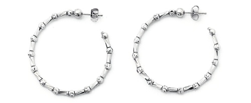 Officina Bernardi - Tube Collection - 35mm Earrings (6 Color Choice) - Italian 925 Sterling Silver