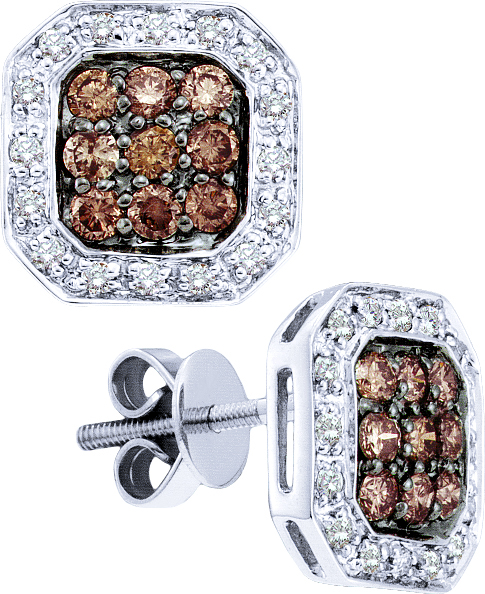 0.77ctw Brown Diamond Fashion Earrings 14K White Gold w/ 50 Diamonds