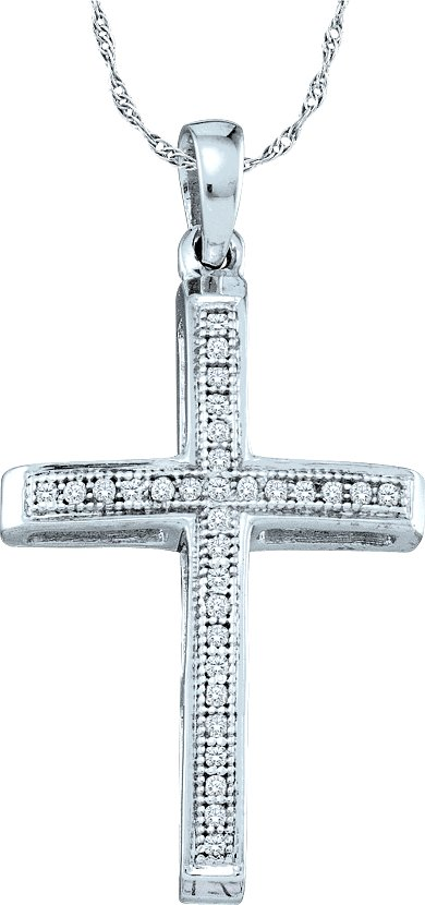 0.08ctw Diamond Cross Pendant 10K White Gold