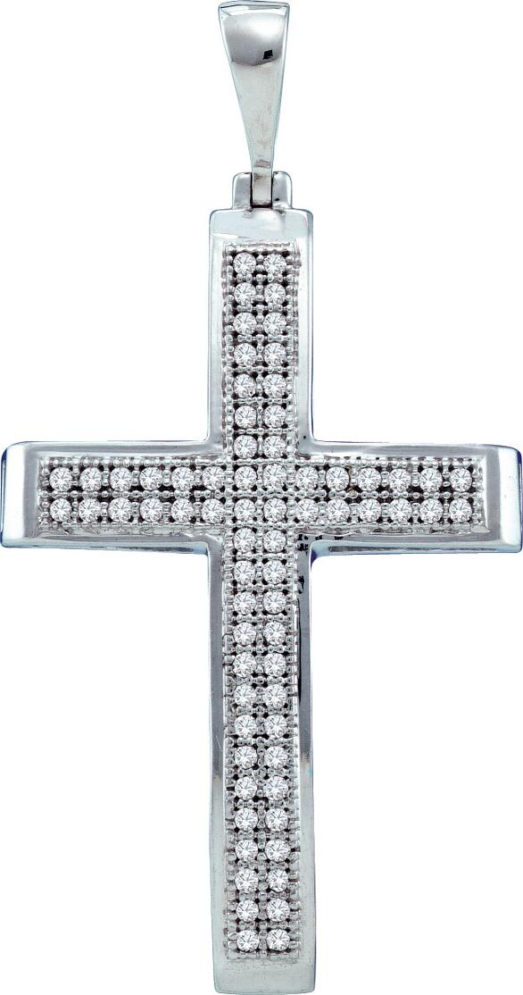 0.20ctw Diamond Cross Pendant 10K White Gold 70 Diamonds