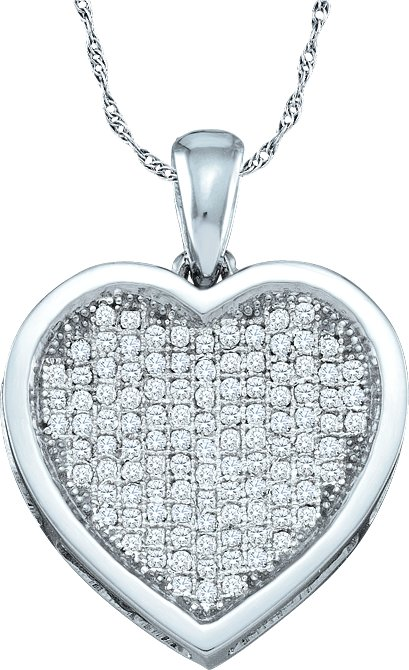 0.33ctw Diamond Heart Pendant 10K White Gold