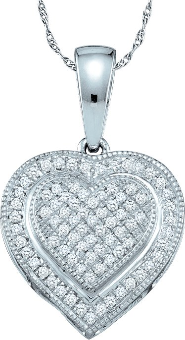 0.25ctw Diamond Heart Pendant 10K White Gold 63 Diamonds
