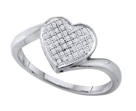 0.10ctw Diamond Heart Ring 10K White Gold Classic Design